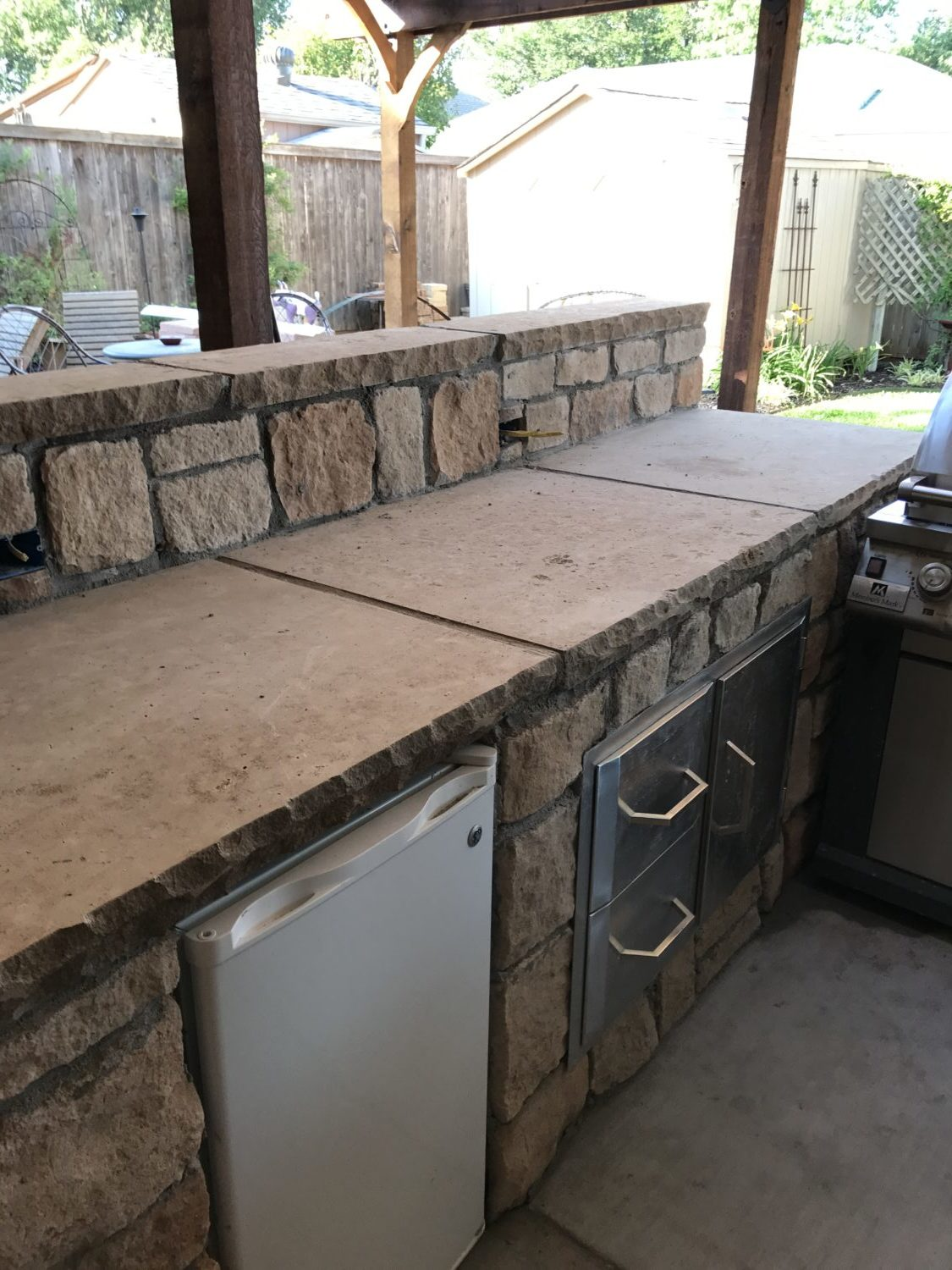 Summer Work Updates Wood Look Tile Outdoor Kitchen