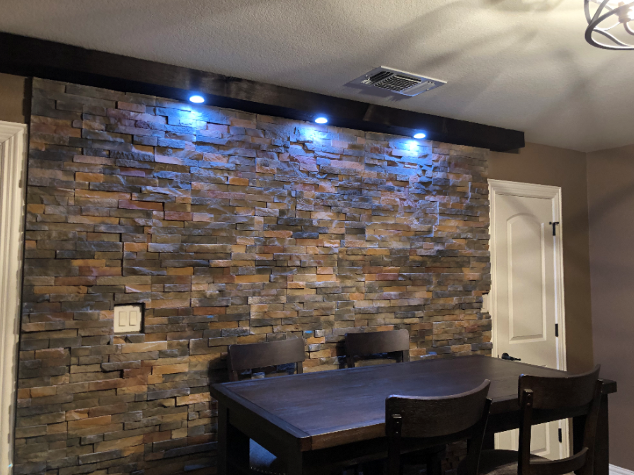 Stone Veneer Accent Wall With Can Lighting Elite Floors